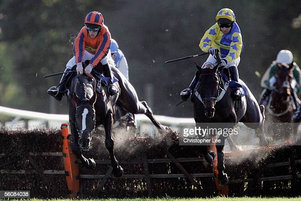 Barry Fenton riding Presenting Express jumps alongside Rodi Greene riding Photographer in The Chatworth Forge LTD Classifield Hurdle Race at Fontwell...