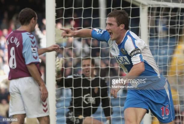 Barry Ferguson of Blackburn celebrates his goal during the Barclays Premiership match between Blackburn Rovers and Aston Villa at Ewood Park on...