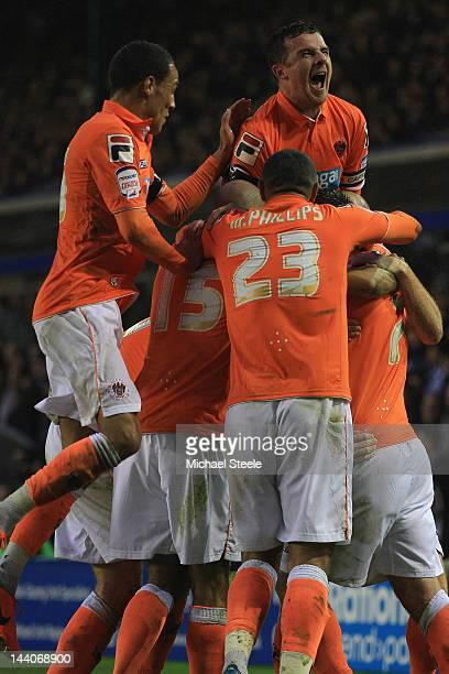 Barry Ferguson of Blackpool celebrates the opening goal scored by Stephen Dobie during the npower Championship Playoff Semi Final Second Leg match...