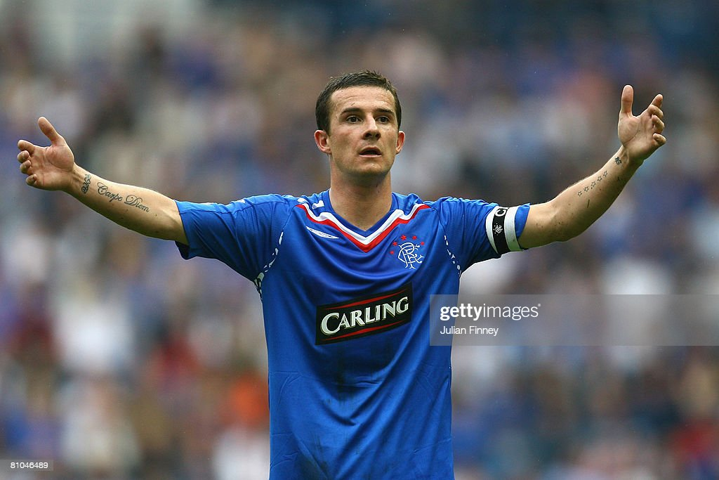 Barry Ferguson of Rangers calls for the ball during The Clydesdale Bank Scottish Premier League match between Rangers and Dundee United at Ibrox Stadium on May 10, 2008 in Glasgow, Scotland.