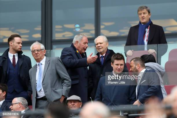 Barry Fry and David Gold during the Premier League match between West Ham United and Southampton at London Stadium on March 31, 2018 in London,...
