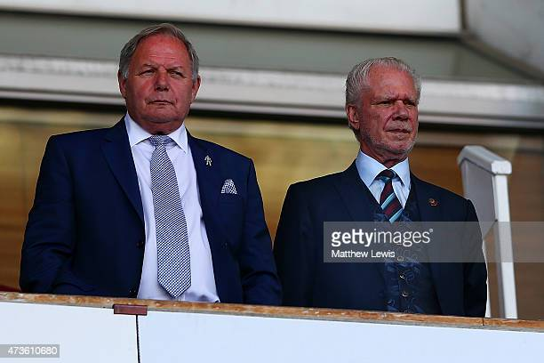 Barry Fry, Director of Peterborough United and West Ham Chairman David Gold during the Barclays Premier League match between West Ham United and...