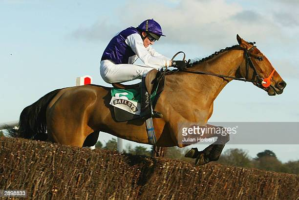 Barry Geraghty and Kicking King clear the last fence to land The Baileys Arkle Perpetual Chalenge Cup Race run at Leopardstown Racecourse on January...