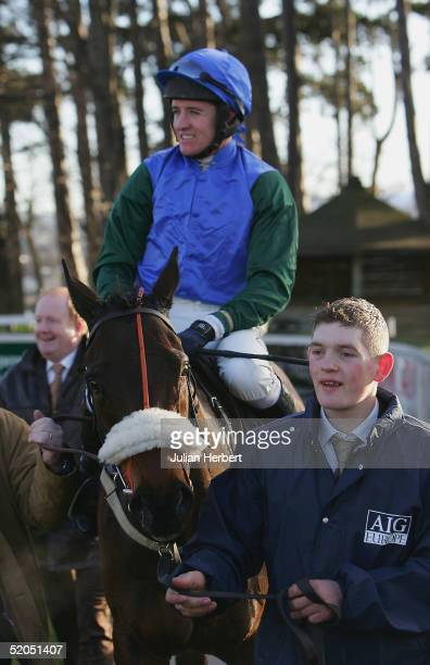 Barry Geraghty and Macs Joy after landing The AIG Europe Champion Hurdle Race run at Leopardstown Racecourse on January 23 2005 in Dublin Ireland