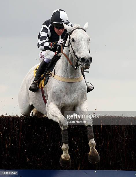 Barry Geraghty and Monets Garden clear the last fence before winning The Betfair Ascot Steeple chase Race run at Ascot Racecourse on February 20 2010...