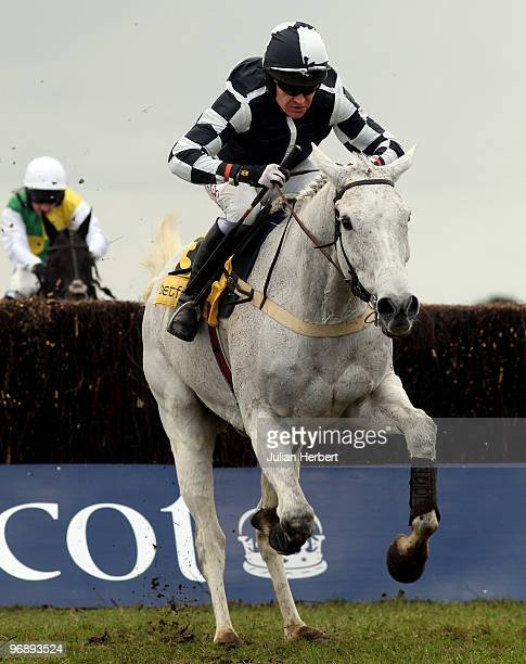 Barry Geraghty and Monets Garden pull away from the last fence before winning The Betfair Ascot Steeple chase Race run at Ascot Racecourse on...