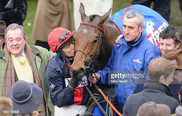 Barry Geraghty kisses Bob's Worth after victory in the Cheltenham Gold Cup Steeple Chase at Cheltenham Racecourse on March 15, 2013 in Cheltenham,...