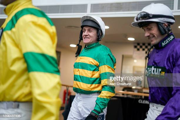 Barry Geraghty leaves the weighing room at Ascot Racecourse on February 15 2020 in Ascot England
