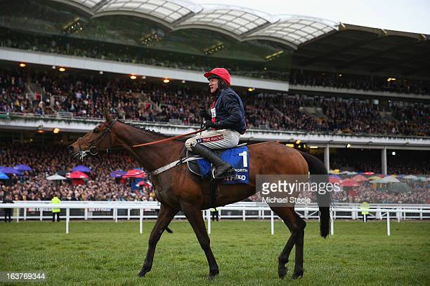 Barry Geraghty on board Bobs Worth after victory in the Cheltenham Gold Cup during Gold Cup day at Cheltenham Racecourse on March 15, 2013 in...