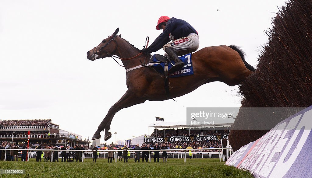 Barry Geraghty on Bob's Worth jump the last on their way to victory in the Chentenham Gold Cup Steeple Chase at Cheltenham Racecourse on March 15, 2013 in Cheltenham, England.