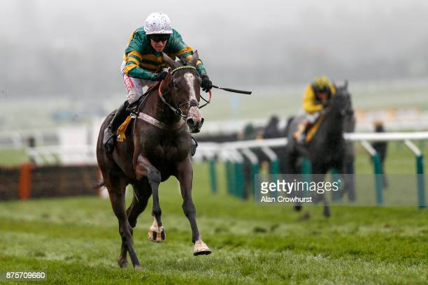 Barry Geraghty riding Apple's Shakira clear the last to win The JCB Triumph Trial Juvenile Hurdle Race from Gumball at Cheltenham racecourse on...