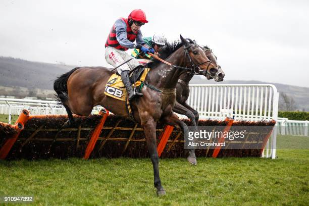 Barry Geraghty riding Apple's Shakira clear the last to win The JCB Triumph Trial Juvenile Hurdle Race on at Cheltenham racecourse on January 27 2018...