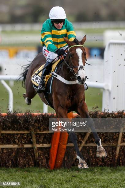 Barry Geraghty riding Apple's Shakira on their way to winning The JCB Triumph Trial juvenile Hurdle Race at Cheltenham racecourse on December 16 2017...