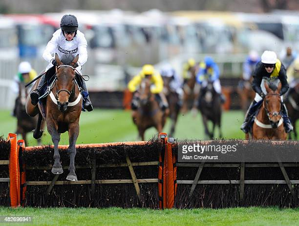 Barry Geraghty riding Beat That clear the last to win The Doom Bar Sefton Novices' Hurdle Race at Aintree racecourse on April 04 2014 in Liverpool...