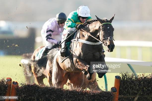 Barry Geraghty riding Birchdale clear the last to win The Actioncoach Invest In The Best Maiden Hurdle at Warwick Racecourse on December 13 2018 in...