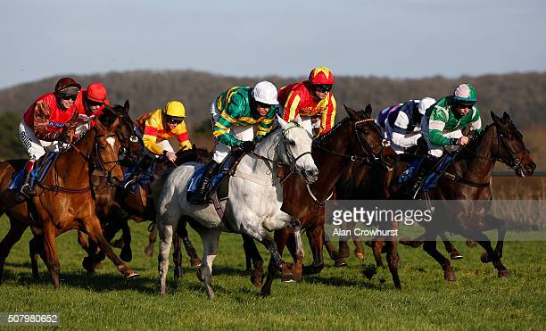 Barry Geraghty riding Bloody Mary on their way to winning The OpenBet Novices' Hurdle Race at Taunton racecourse on February 02 2016 in Taunton...