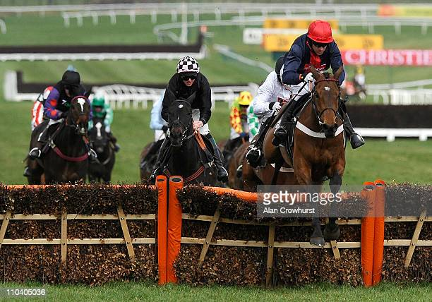 Barry Geraghty riding Bobs Worth clear the last to win The Albert Bartlett Novices' Hurdle at Cheltenham racecourse on March 18, 2011 in Cheltenham,...