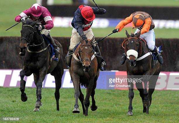 Barry Geraghty riding Bobs Worth clear the last to win The Betfred Cheltenham Gold Cup Steeple Chase from Sir des Champs and Long Run ) during...