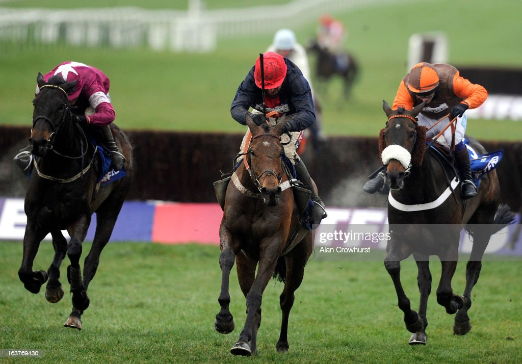 Barry Geraghty riding Bobs Worth (C) clear the last to win The Betfred Cheltenham Gold Cup Steeple Chase from Sir des Champs (L) and Long Run (R)) during Cheltenham Gold Cup Day at Cheltenham racecourse on March 15, 2013 in Cheltenham, England.