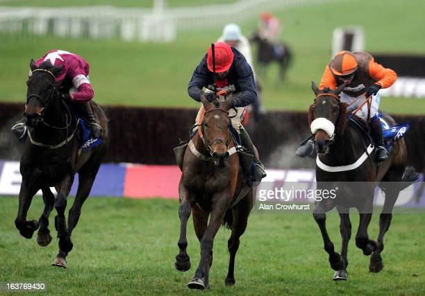 Barry Geraghty riding Bobs Worth clear the last to win The Betfred Cheltenham Gold Cup Steeple Chase from Sir des Champs and Long Run during...