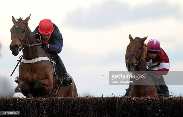 Barry Geraghty riding Bobs Worth clear the last to win The Hennessy Gold Cup Steeple Chase at Newbury racecourse on December 01, 2012 in Newbury,...