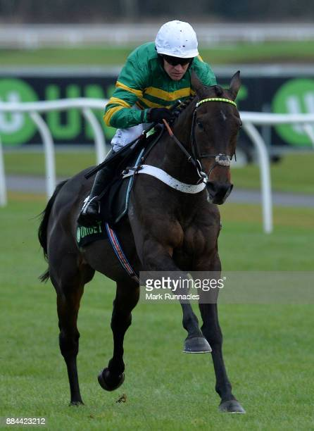 Barry Geraghty riding Buveur D'Air jumps the final fence on his way to winning the Unibet Fighting Fifth Hurdle Race at Newcastle Racecourse on...