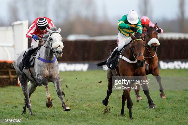 Barry Geraghty riding Champ clear the last to win The Betway Challow Novices' Hurdle at Newbury Racecourse on December 29 2018 in Newbury England
