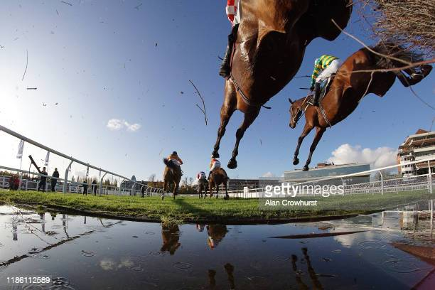 Barry Geraghty riding Champ clear the water jump before going on to win The KKAHighpoint Beginners' Chase at Newbury Racecourse on November 07 2019...