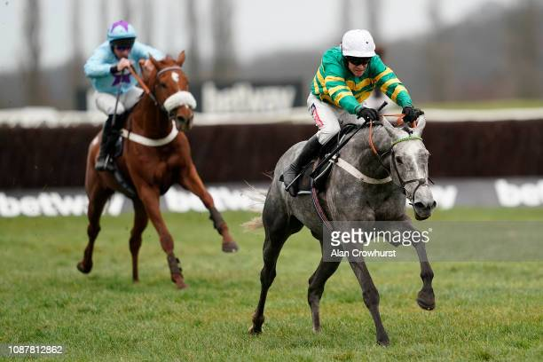 Barry Geraghty riding Champagne Platinum clear the last to win The Betway Introductory Hurdle Race at Newbury Racecourse on December 29 2018 in...