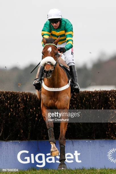 Barry Geraghty riding Coney Island clear the last to win The Sodexo Graduation Steeple Chase at Ascot racecourse on December 23 2017 in Ascot United...