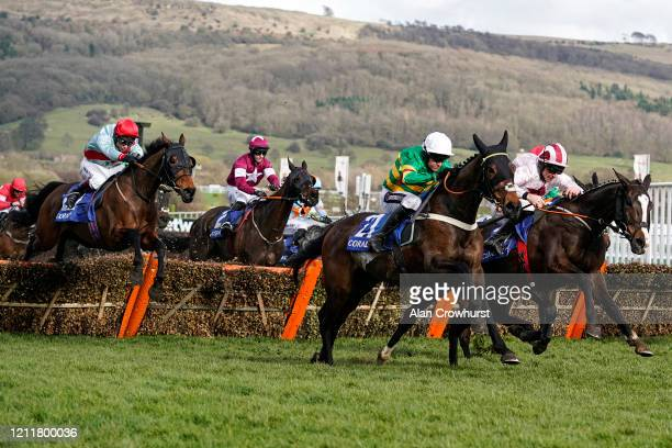 Barry Geraghty riding Dame De Compagnie clear the last to win The Coral Cup Handicap Hurdle on Ladies Day at Cheltenham Racecourse on March 11, 2020...