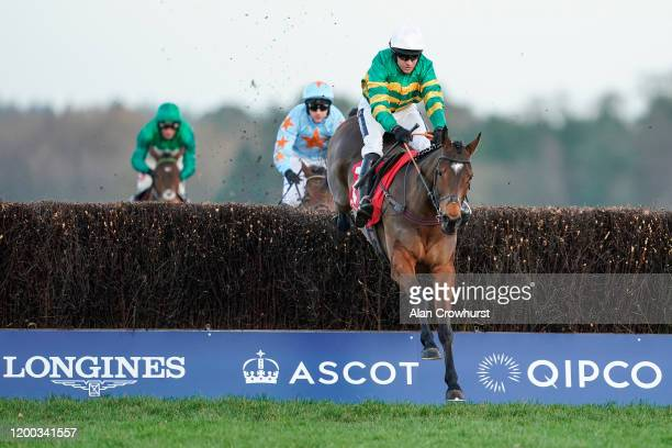 Barry Geraghty riding Defi Du Seuil clear the last to win Matchbook Clarence House Chase from Un De Sceaux at Ascot Racecourse on January 18 2020 in...