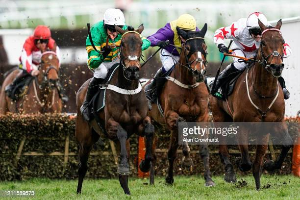 Barry Geraghty riding Epatante clear the last to win The Unibet Champion Hurdle Challenge Trophy on Champion Day at Cheltenham Racecourse on March...