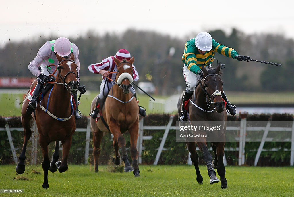 Barry Geraghty riding Landofhopeandglory (R) clear the last to win The Bar One Racing Juvenile Hurdle from Bapaume (L) at Fairyhouse racecourse on December 4, 2016 in Dublin.