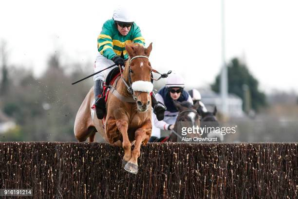 Barry Geraghty riding Modus clear the last to win The Matchbook VIP Graduation Steeple Chase at Kempton Park racecourse on February 9 2018 in Sunbury...