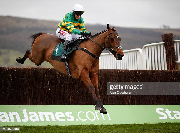 Barry Geraghty riding More Of That on their way to winning The Raymond Mould Memorial Noovices' Steeple Chase at Cheltenham racecourse on December 12...