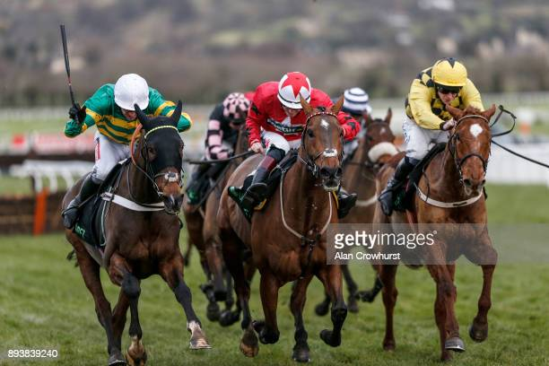 Barry Geraghty riding My Tent Or Yours clear the last to win The Unibet International Hurdle Race from The New One at Cheltenham racecourse on...
