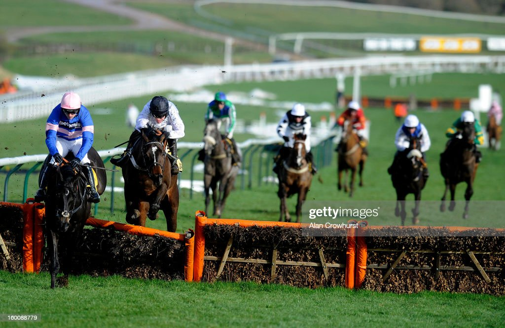 Barry Geraghty riding Rolling Star (2nd L) win The JCB Triumph Hurdle Trial at Cheltenham racecourse on January 26, 2013 in Cheltenham, England.