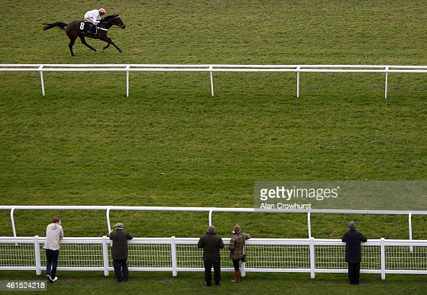Barry Geraghty riding Sugar Baron win The Betfred January Sale Novices' Hurdle Race at Newbury racecourse on January 14 2015 in Newbury England