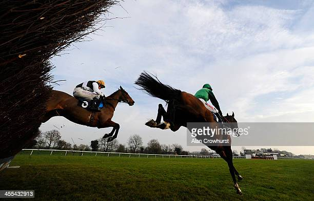 Barry Geraghty riding Une Artiste on their way to winning The Betfred TV EBF Stallions/TBA Mares' Novices' Steeple Chase at Huntingdon racecourse on...