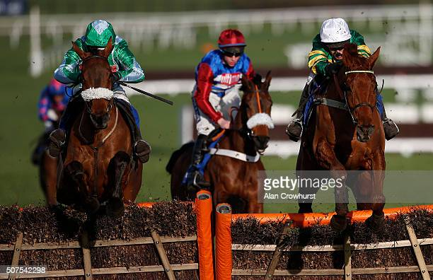 Barry Geraghty riding Yanworth clear the last to win The Neptune Investment Management Novices' Hurdle Race at Cheltenham racecourse on January 30...