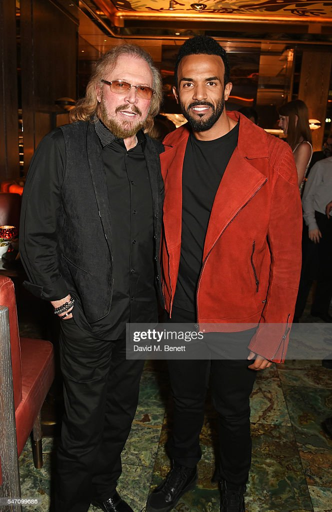 Barry Gibb (L) and Craig David attend the Sony Music UK Summer Party at Sexy Fish on July 13, 2016 in London, England.