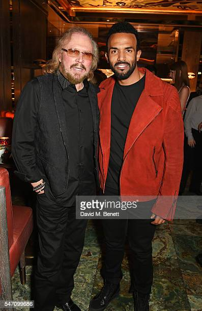 Barry Gibb and Craig David attend the Sony Music UK Summer Party at Sexy Fish on July 13 2016 in London England