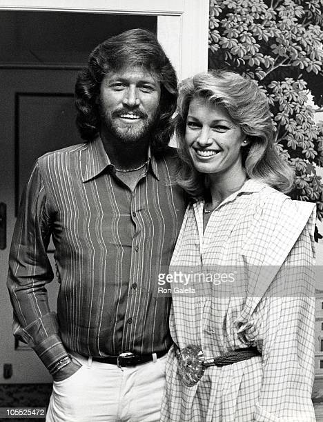 Barry Gibb and Cyndy Garvey during Barry Gibb Signed to MCA Racords/Cindy Interviewed Barry for AM New York Morning show at Carlysle Hotel in New...