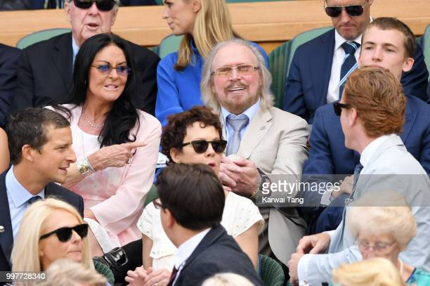 Barry Gibb and his wife Linda Gibb attend day eleven of the Wimbledon Tennis Championships at the All England Lawn Tennis and Croquet Club on July...