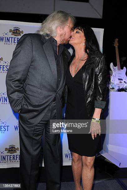Barry Gibb and his wife Linda Gray attend the Seminole Hard Rock Winterfest Boat Parade 2011 Grand Marshal reception at Seminole Hard Rock Hotel on...