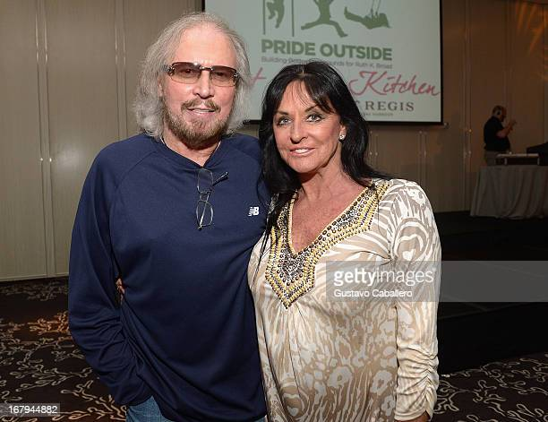 Barry Gibb and Linda Gibb attend Celebrity Chefs Support Pride Outside at St Regis Bal Harbour on May 2, 2013 in Miami Beach, Florida.