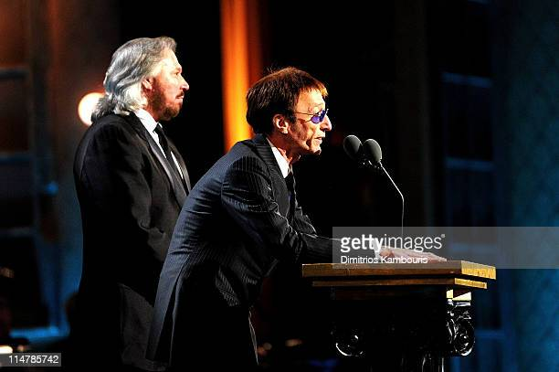 Barry Gibb and Robin Gibb onstage at the 25th Annual Rock and Roll Hall of Fame Induction Ceremony at Waldorf=Astoria on March 15 2010 in New York...