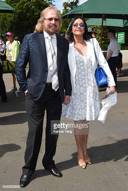 Barry Gibb and wife Linda attend day ten of the Wimbledon Tennis Championships at Wimbledon on June 27 2016 in London England