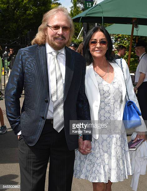 Barry Gibb and wife Linda attend day ten of the Wimbledon Tennis Championships at Wimbledon on June 27, 2016 in London, England.